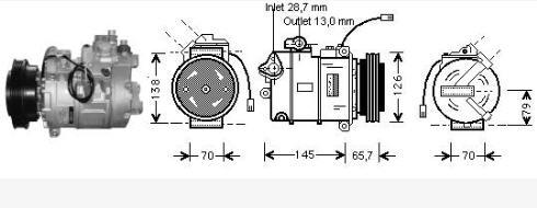 AUDI A4 {A6 97-/Passat 1.9tdi 00-/Super B 02-} КОМПРЕССОР КОНДИЦ (см.каталог) (AVA)