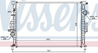 MONDEO {FOCUS 11-/S-MAX 06-/Freelander 07-/S60/S80/V70/XC60/XC70 06-} РАДИАТОР ОХЛАЖДЕН (NISSENS) (см.каталог)